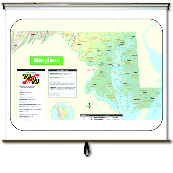 Maryland Large Scale Shaded Relief Wall Map On Roller With